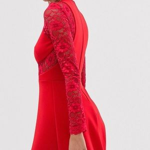 ASOS Red Lace Sleeve Flared Slater Dress Size 12